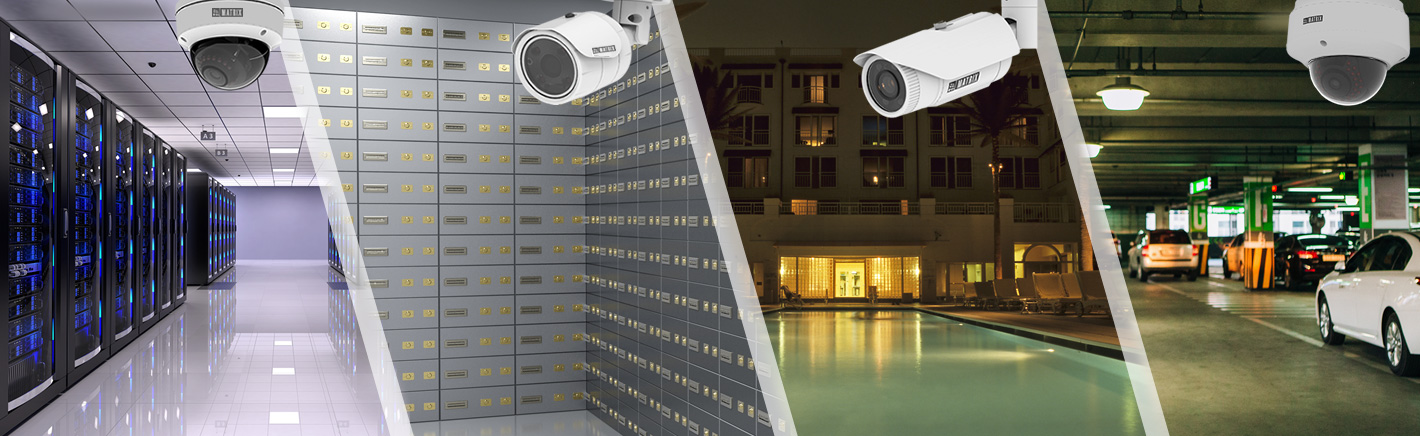 IP Cameras such as Vandal proof, DOM, Bullet Cameras